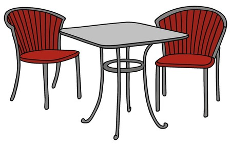 hand drawing of a table and two armchairs Illustration