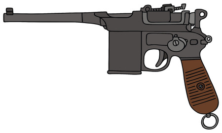 hand drawing of a old handgun