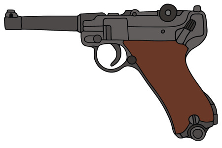 hand drawing of a old germany handgun