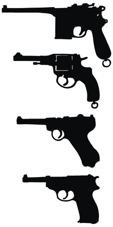 hand drawing of four old handguns