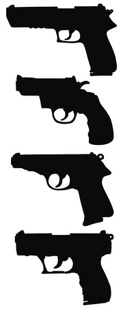 hand drawing of four handguns Illustration