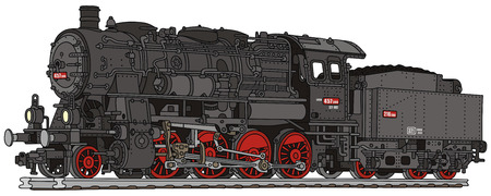 古い蒸気機関車の描画手します。  イラスト・ベクター素材