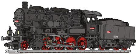 Dibujo de la mano de una vieja locomotora de vapor Foto de archivo - 25963338