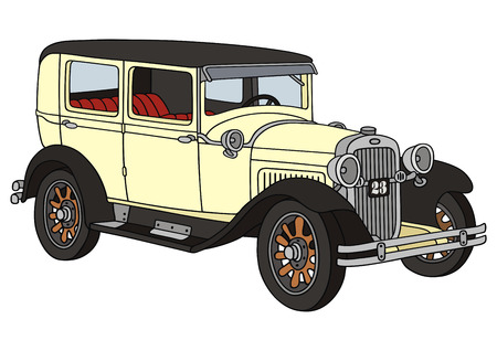 hand drawing of a vintage car