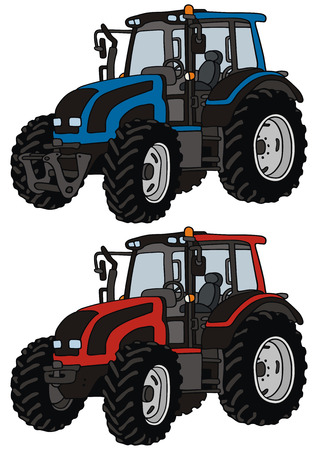 hand drawing of two tractors
