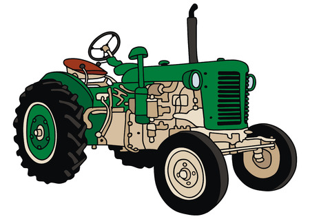 hand drawing of a old tractor Illustration