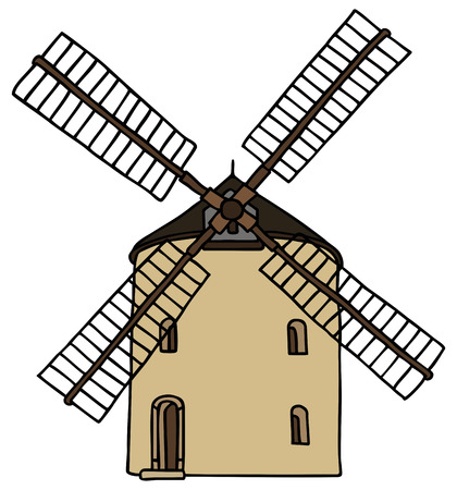 old stone windmill Illustration