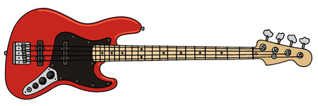 hand drawing of a electric bass guitar