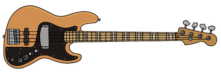 bullpen: hand drawing of a electric bass guitar
