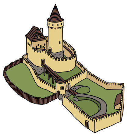 고딕 양식의 성의 손을 그리기 일러스트