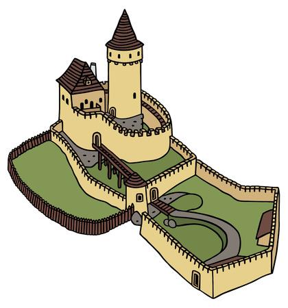 hand drawing of a gothic castle Ilustração