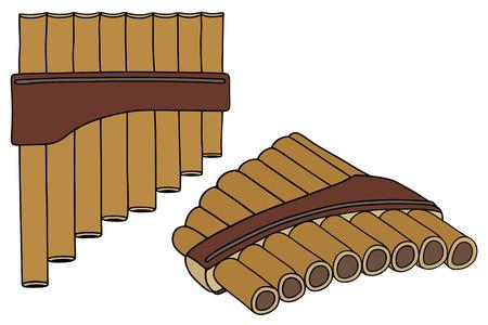 disegno a mano: disegno a mano di un vecchio flauto di legno