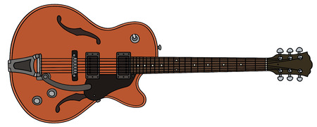 hand drawing of a old wooden electric guitar Vector