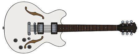 hand drawing of a old white electric guitar Vector