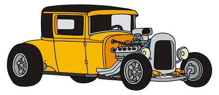 hand drawing of a yellow hot-rod Vector