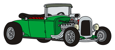 hand drawing of a green hot-rod Illustration