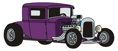 hot rod: hand drawing of a violet hot-rod