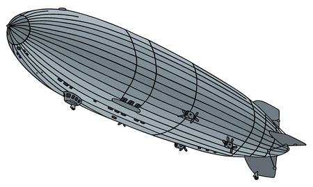 古い飛行船の描画手します。  イラスト・ベクター素材