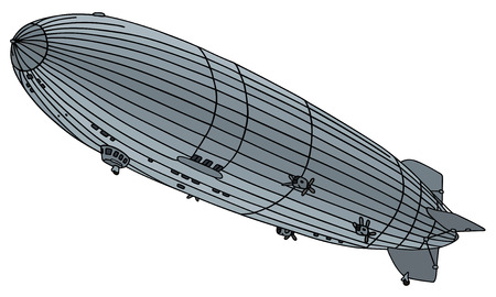 hand drawing of a old airship