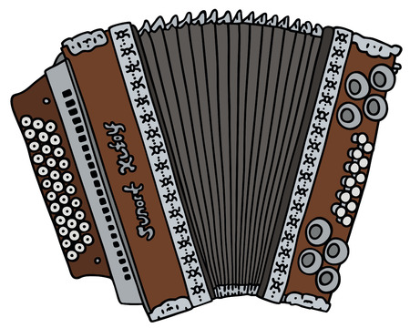 hand drawing of a old accordion