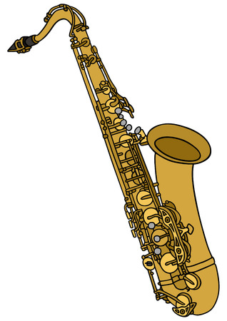 hand drawing of a saxophone