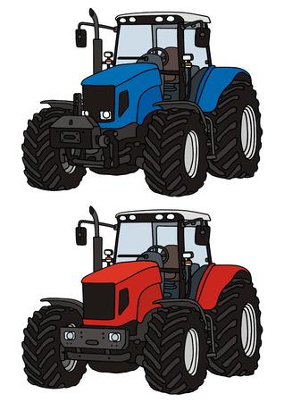 de hand tekening van twee tractoren