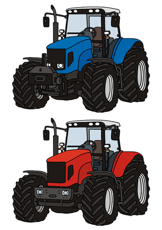 strony rysunku z dwóch traktorów