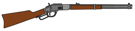 hand drawing of a old american rifle Vector