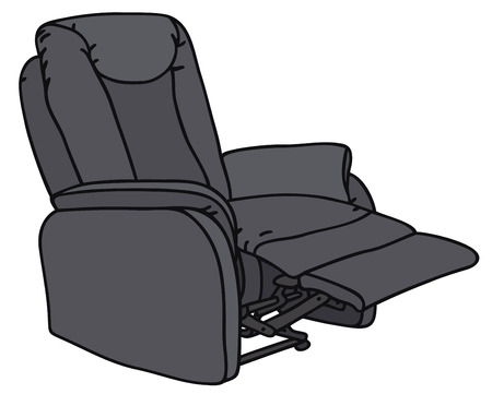 family living room: Hand drawing of a big TV armchair