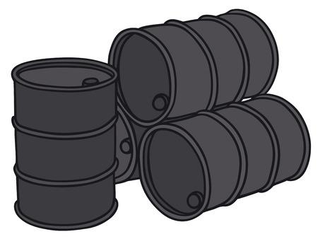 iron hoops: Hand drawing of four sheetmetal barrels