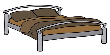 Disegno a mano di un grande letto Vettoriali