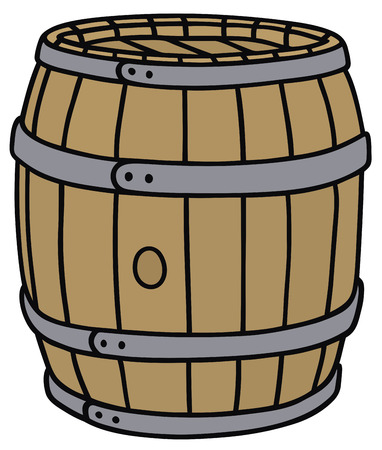 tun: Hand drawing of a classic wooden barrel