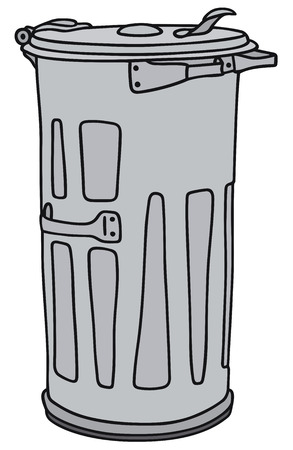leavings: Hand drawing of a classic metal dustbin