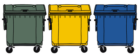Hand drawing of three recycling containers 일러스트