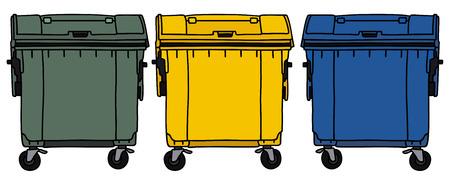 Gráfico de la mano de tres contenedores de reciclaje Foto de archivo - 31975373