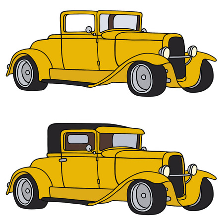 Hand drawing of two funny vintage cars - not a real type Vector