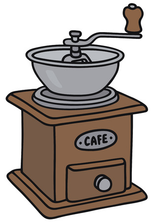 macinino caffè: Disegno a mano di un macinino da caff� d'epoca