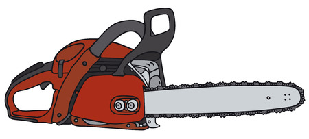 Hand drawing of a red chainsaw - not a real type