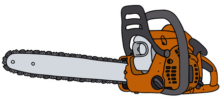 Hand drawing of an orange chainsaw - not a real type