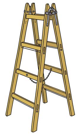 手描きの古典的な木製のはしごの