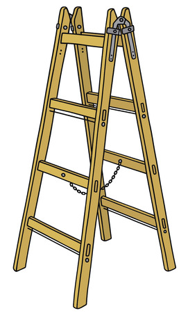 stepladder: Hand drawing of a classic wooden ladder