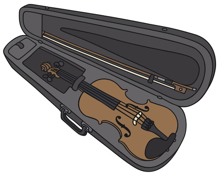 fiddlestick: Hand drawing of a violin in the case