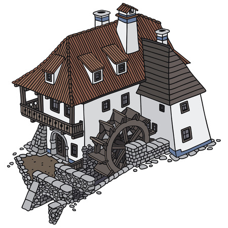 Hand drawing of an old water mill Illustration