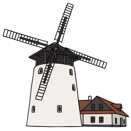 dutch landmark: Hand drawing of an old windmill Illustration