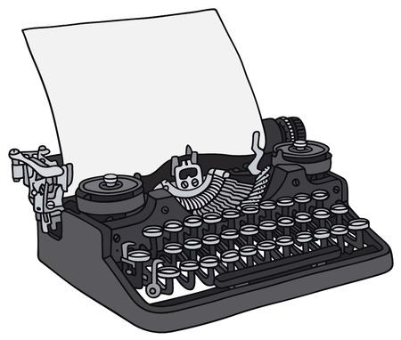 Disegno a mano di una vecchia macchina da scrivere Vettoriali