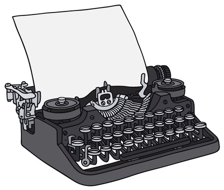 Hand drawing of an old typewriter Çizim