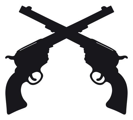 手描きの 2 つの古典的な野生の西の拳銃の