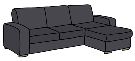 Hand drawing of a black sofa Vector