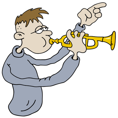 Hand drawing of a funny trumpetist