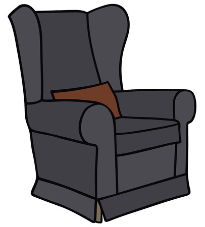 sitter: Hand drawing of a black armchair